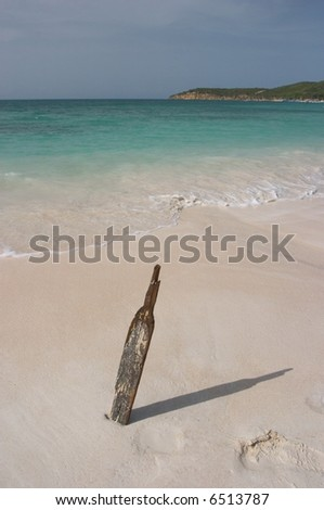 Cricket Bat on the Beach, Antigua - stock photo