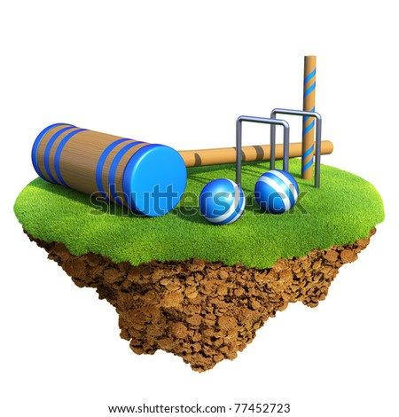 Cricket bat, wicket stumps, bails and balls based on little planet. Concept for baseball team or competition design. Tiny island / planet collection. - stock photo
