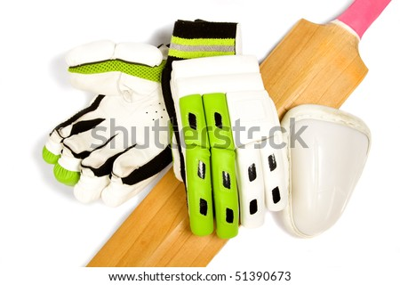 Cricket bat with bright pink handle, gloves and ball box on white. - stock photo