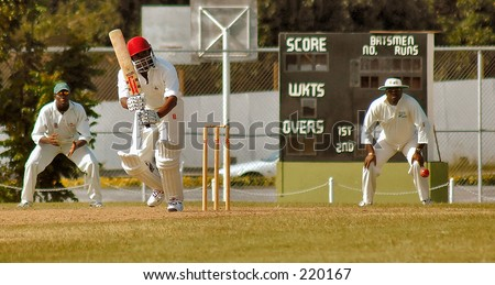 Cricket Match in Barbados, West indies. - stock photo