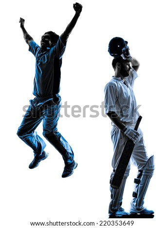 Cricket player in silhouette shadow on white background - stock photo