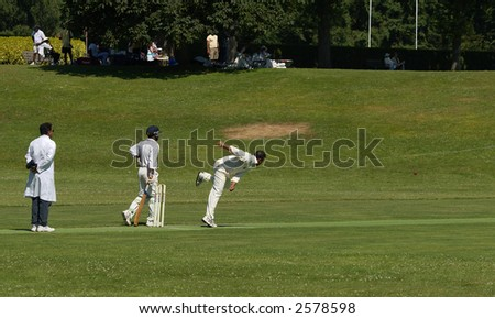 cricket players - stock photo