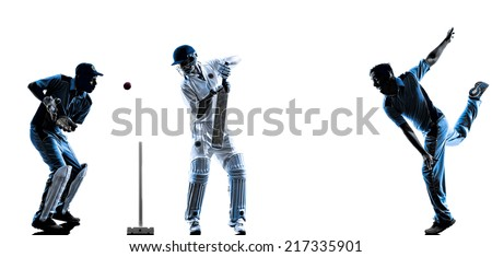 Cricket players in silhouette shadow on white background - stock photo