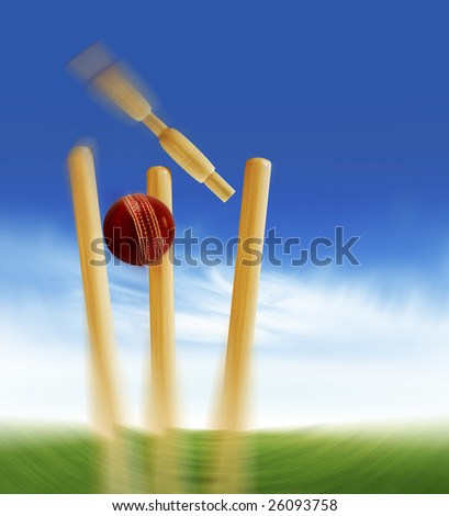 Cricket stumps - stock photo