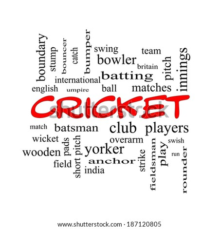 Cricket Word Cloud Concept in red caps with great terms such as batsman, wicket, ball and more.