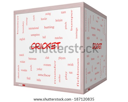 Cricket Word Cloud Concept on a 3D cube Whiteboard with great terms such as batsman, wicket, ball and more. - stock photo