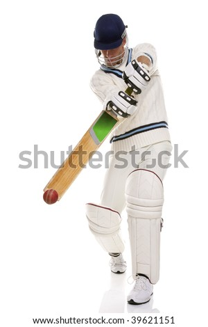 Cricketer playing a shot, studio shot on white background. - stock photo