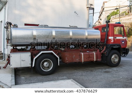 Crikvenica, CROATIA - June 4: Fire Truck in Crikvenica on June 04, 2016. Firefighters Engine Vehicle Parked in Front of Fire Station in Crikvenica, Croatia
