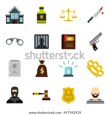 Crime and punishment icons set in flat style. Law and order set collection  illustration