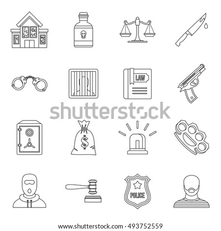 Crime and punishment icons set in outline style. Law and order set collection  illustration