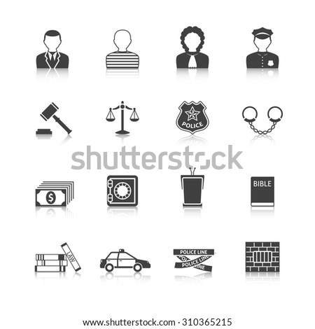 Crime and punishment legal system  tribunal attorney investigation documents icons set  black abstract isolated  illustration