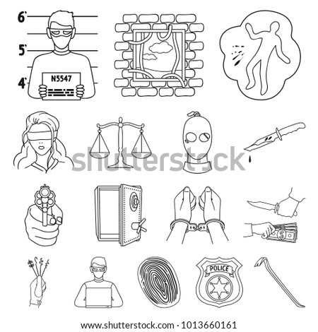 Crime Punishment Outline Icons Set Collection Stock Illustration