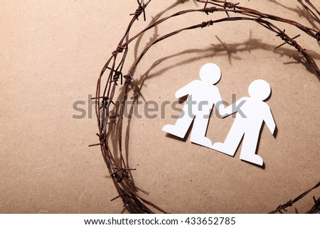 crime, imprisonment, refugee and humanity concept  - stock photo