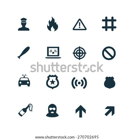crime, justice icons set on white background