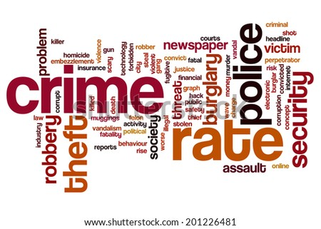 Crime rate concept word cloud background - stock photo