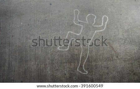 Crime scene chalk line of an auto accident with tire skid marks leading over the body. - stock photo