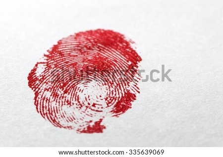 Crime Scene Concept - Dried Blood Fingerprint on White Paper - stock photo