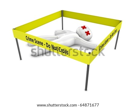 Crime scene 3d rendering concept, Isolated over white background. - stock photo