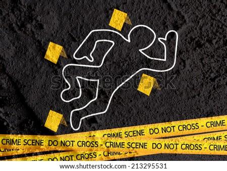Crime scene danger tapes illustration on wall texture background design - stock photo