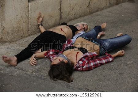 Crime scene: Dead body of a murdered girl  - stock photo