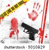Crime Scene Elements in Grunge Style: Fingerprint, Gun and Blood - stock photo