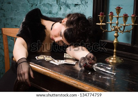 Crime scene in a vintage style. Poisoned victim - stock photo