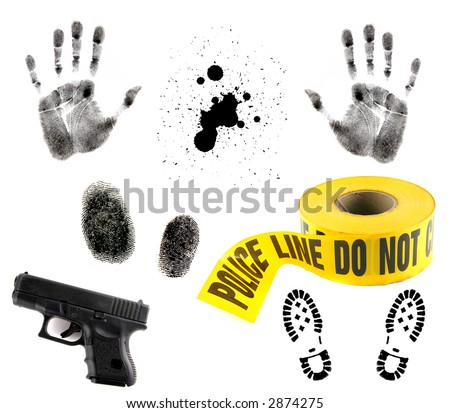 Crime Scene Items: Blood Spatter, Fingerprint, Handprint, Police Tape and 9mm Gun - stock photo