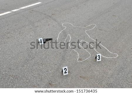 Crime scene - murder on the street - stock photo