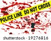 Crime scene tape across a blood stained pattern - stock vector