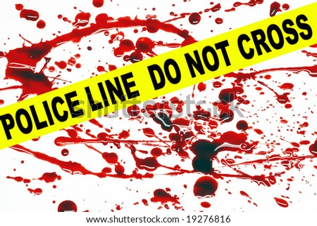 Crime scene tape across a blood stained pattern - stock photo