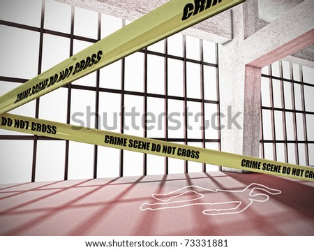 Crime Scene With Do Not Cross Yellow Warning Tape and Body Outline - stock photo