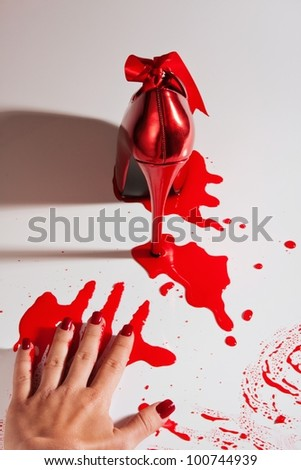 Crime scene with shoe blood and white ground - stock photo