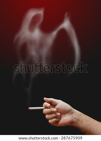 crime warning : stop smoking kills in public area as office - stock photo