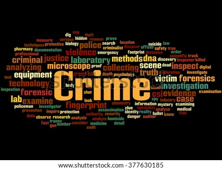 Crime, word cloud concept on black background.  - stock photo