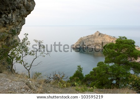 Crimea mountains and Black sea landscape, early morning - stock photo