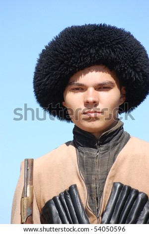 CRIMEA, UKRAINE - SEPTEMBER 26: Member of military history club ALMA wears Russian historical uniform during historical reenactment of Crimean War September 26, 2009 , Crimea, Ukraine