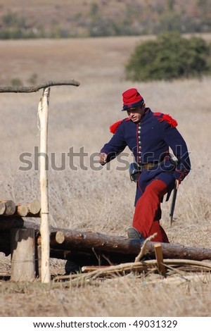 CRIMEA, UKRAINE - SEPTEMBER 26: Member of military history club Red Star wears French historical uniform during historical reenactment of Crimean War September 26, 2009 in Crimea, Ukraine