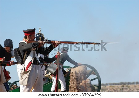CRIMEA, UKRAINE - SEPTEMBER 26 : Members of military history club wear Russian historical uniforms during historical reenactment Crimean War near Alma river September 26, 2009 in Crimea, Ukraine