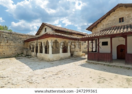 Crimean Karaites Kenassas XVI and XVIII century in medieval cave city-fortress Chufut-Kale, Bakhchysarai, Republic of Crimea, Russia - stock photo