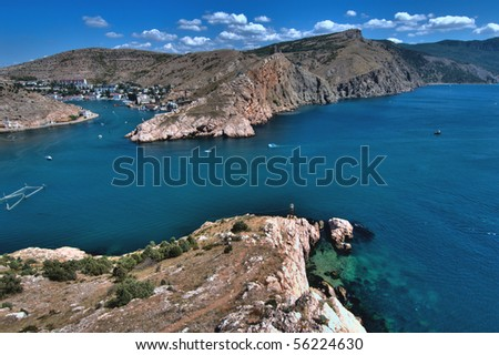 Crimean Mountains form the city of Balaklava, Ukraine - stock photo