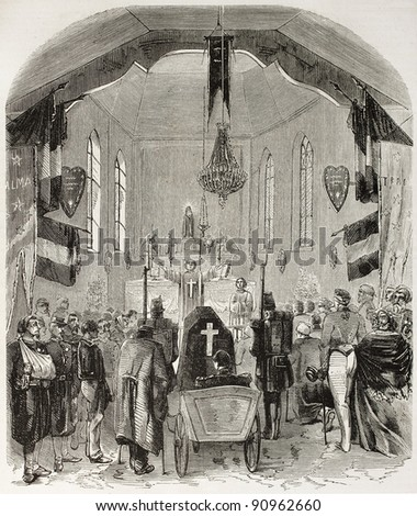 Crimean war fallen funeral service in Bourbonne-les-Bains military chapel. Created by Ferat after Bezu, published on L'Illustration, Journal Universel, Paris, 1858 - stock photo