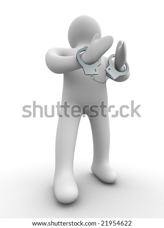 criminal chained in handcuffs. Isolated 3D image - stock photo