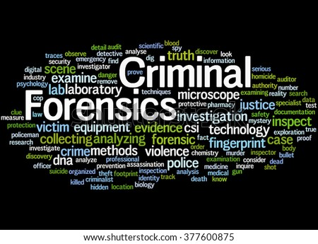 Criminal Forensics, word cloud concept on black background.  - stock photo