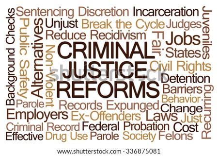 Criminal Justice Reforms Word Cloud on White Background - stock photo