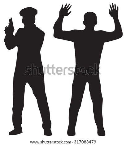 Criminal, offender and Police officer. Black silhouettes.