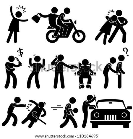 Criminal Robber Burglar Kidnapper Rapist Thief Icon Symbol Sign Pictogram - stock photo