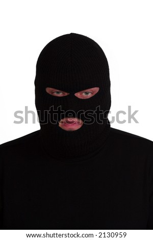 Criminal series 7 - angry burglar wearing a ski mask (balaclava) - stock photo