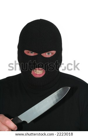 Criminal series 3 - angry burglar with a knife - stock photo