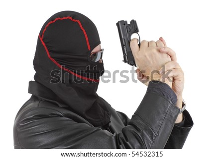Criminal theme - gangster with a gun studio isolated - stock photo