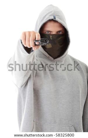 Criminal theme - masked man with gun, isolated on white - stock photo